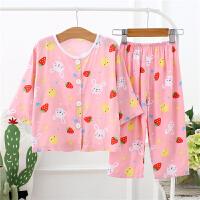 儿童睡衣绵绸婴儿男童夏季中长袖棉绸套装人造棉宝宝空调服薄开衫