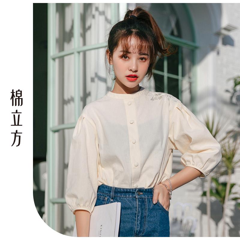 衬衫女中袖2019春新款棉立方宽松刺绣灯笼袖设计感小众立领衬衣 时尚灯笼袖设计  优选棉质面料