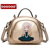 【支持礼品卡】DOODOO 2017新款时尚包包女包甜美淑女插画潮流单肩斜跨女士包包 D5122