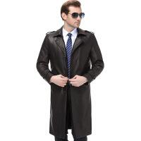 海宁真皮皮衣男中长款修身型皮风衣加绒加厚冬装外套新款男装大衣