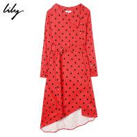 【2折到手价139.8元】Lily秋新款女装复古红黑圆点不规则修身连衣裙118330C7B36