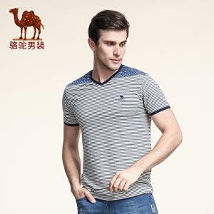 骆驼男装 夏季新款微弹时尚修身V领印花日常休闲短袖T恤衫男