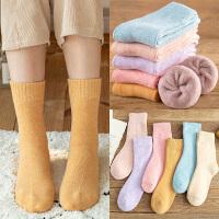 冬天加厚加绒毛袜子女中筒袜家居长款韩版保暖森系高筒月子睡眠袜