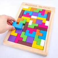 小学生俄罗斯方块拼图积木制幼儿童早教益智力开发男女孩玩具2-4-6岁