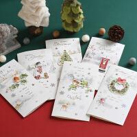 伊和诺 欧风创意冰雪飞圣诞节贺卡立体手工贴花闪粉卡片圣诞卡