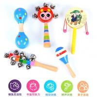木制婴儿玩具套装手摇铃木质拨浪鼓哑铃七彩串铃沙锤宝宝早教玩具c