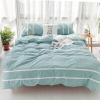 棉水洗棉四件套条纹简约床上用品被套床单床笠1.8m床四件套k