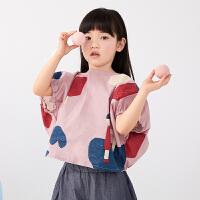 【1件秒杀价:120】马拉丁童装女童衬衫2020夏装新款艺术图案满印花抽褶短袖衬衫