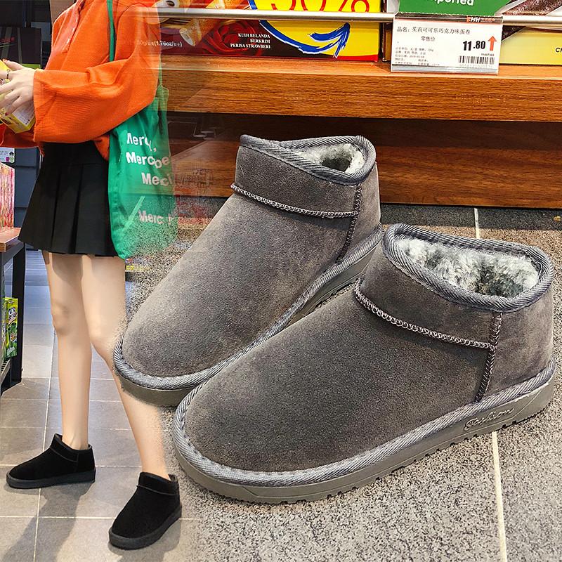 平底中筒学生雪地靴圆头女短靴女鞋2018秋冬季新款加绒保暖棉鞋女