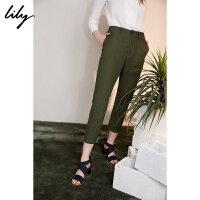 【6/4-6/8 一口价:149元】 Lily夏女装帅气通勤军绿色宽松显瘦哈伦裤118200C5503
