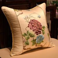 新中式古典抱枕红木沙发靠垫套含芯大靠背牡丹花刺绣靠枕腰枕定做