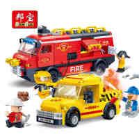 【小颗粒】邦宝益智教育创意拼插积木玩具消防系列道路救援7111