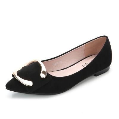 2019新款女扣件平底鞋女金属扣件休闲鞋女鞋女式时装批发掌柜