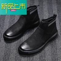 新品上市马丁靴男冬季加绒保暖棉鞋高帮皮靴潮真皮英伦短靴工装靴雪地靴子