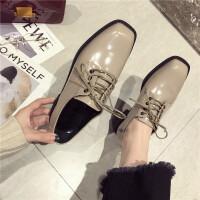 2019新款时尚女鞋方头系带英伦风低帮鞋平跟单鞋小皮鞋乐福鞋女鞋