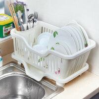 厨房置物架 塑料加厚滴水碗碟收纳架 滤水沥水碗碟架 滴水碗架(正面漏水)E2311