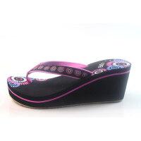 越南鞋平仙新款女坡跟高跟人字拖鞋潮休闲拖鞋滑中国风