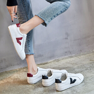 ZHR2019春季新款韩版小白鞋平底板鞋百搭休闲鞋真皮学生女鞋子潮