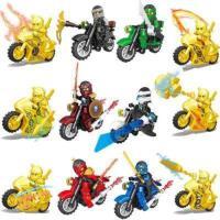 幻影忍者人仔黄金人偶拼装摩托战车忍者神龟儿童积木玩具5-12岁 浅黄色 12款摩托车