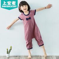 夏季儿童连体睡衣短袖宝宝睡衣连体睡衣男女童睡衣