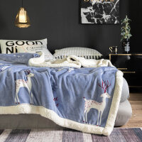 双层毛毯被子冬季仿羊羔绒加厚保暖珊瑚绒毯子法兰绒女垫床单人冬用y