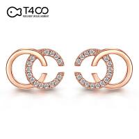 T400双C纯银耳钉气质2019新款潮小众高级感字母耳饰法式优雅耳环