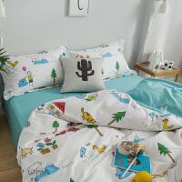 ins网红火锦鲤 年年有鱼棉床单四件套被套床上用品套件k