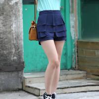 夏季大码女装时尚百搭显瘦松紧腰纯色糖果色雪纺裙裤