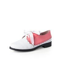 爱旅儿哈森旗下拼色韩版小皮鞋学生鞋休闲鞋单鞋ES75307