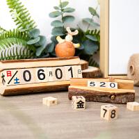 美式创意木质小日历台历桌面摆设工艺品家居装饰品摆件礼品
