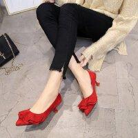 新款潮春秋3cm高跟鞋低跟细跟猫跟浅口红色婚鞋小码绒面女鞋单鞋