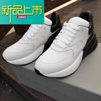 新品上市高版本秋冬小白鞋老爹男鞋真皮厚底内增高运动休闲鞋子 黑色 皮面