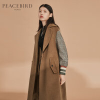 太平鸟女装春装新款韩版格子拼接袖毛呢大衣女中长款过膝毛呢外套