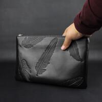 手包男真皮新款手拿包商务羽毛头层牛皮信封包大容量手拎夹包