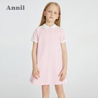 【2件4折价:95.6】安奈儿童装女童连衣裙短袖2021夏新款洋气A字裙学院运动风棒球裙