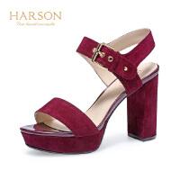 【 立减120】哈森 夏季新款羊皮绒防水台女鞋 一字扣带粗高跟时尚凉鞋 HM86043