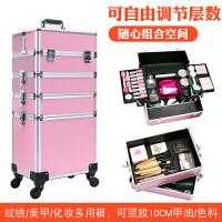 拉杆化妆箱美容美发跟妆化妆箱彩妆纹绣工具箱万向轮多层大号便捷 两层全黑