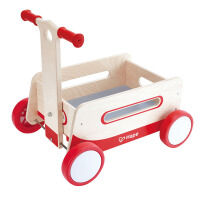 Hape复古学步车1岁以上宝宝益智启蒙多功能手推拉车木质童车轮滑学步车儿童玩具E0375