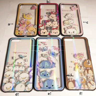 花栗鼠史迪奇维尼小猪iPhoneXs max手机壳6s/7/8plus玻璃保护套R X/XS a款透明玻璃壳