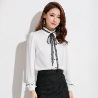 2019秋季新款品牌女装泡泡袖立领雪纺开衫上衣长袖纯色雪纺衬衫女 白色