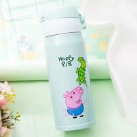 304不锈钢杯子创意水杯儿童保温杯男女学生韩版潮流可爱简约清新 500ML 浅绿色 小猪佩奇