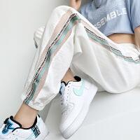 冰丝运动裤女夏季薄款白色宽松束脚休闲裤ins潮显瘦九分灯笼裤子