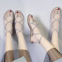 女士沙滩凉鞋气质风绑带鞋子 时尚罗马鞋平底凉鞋 新款水钻女露趾凉鞋