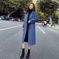 【爆款力荐】秋冬毛呢外套女中长款2020韩版潮雾霾蓝女士呢子大衣加厚
