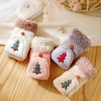 手套女冬天可爱韩版保暖加绒加厚棉毛绒学生ins露指半指冬季圣诞