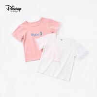 【春新品3折�A估�r:30.1元】迪士尼童�b�和�女童�W�清新短袖T恤夏季新款����半袖上衣洋�獗�