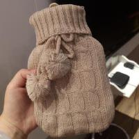 暖水袋 注水式毛线暖手宝热水袋 针织套带毛球