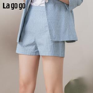 【开学季单件五折叠300-30优惠券】Lagogo/拉谷谷2019年春季新款时尚文艺休闲短裤女IAKK12ZG85