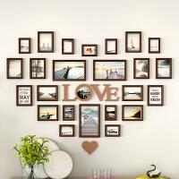 心形照片墙装饰实木相框墙客厅创意个心背景墙相册框挂墙组合 巧克力色 海天一色