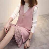 新年特惠秋季新款毛衣背心连衣裙洋气套装大码女装微胖针织两件套 粉红色 两件套